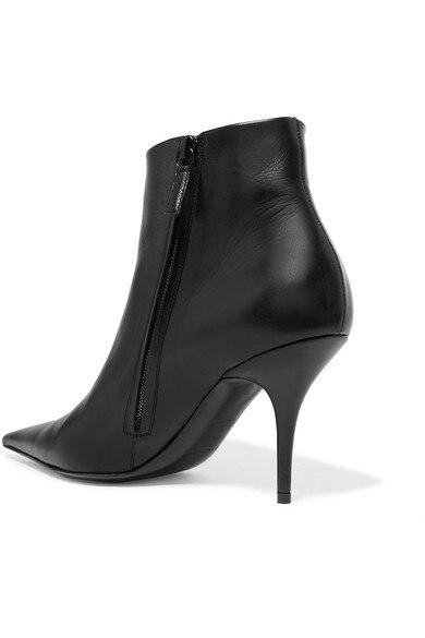 Noir Bottes Concis Pointu Chaussures En T Show Bottines Hauts Bout Fête Femmes Cuir Style Nouveau As Show Printemps as Européen Talons qt4vvX