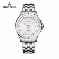 Reef Tiger/RT часы новое поступление Бизнес платье часы с датой мужские полностью стальные светящиеся автоматические часы RGA819