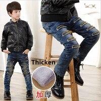 Trẻ em Jeans Cho Boys Quần Áo Mùa Đông Quần Áo Trẻ Em Chàng Trai Tuổi Teen Quần Tây Giản Dị Denim Jeans lỗ 3 4 5 6 7 8 9 10 11 12 Năm
