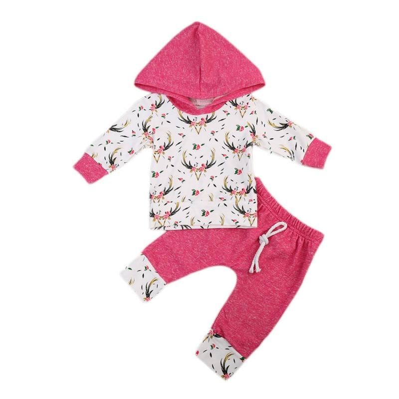 2Pcs Infant Newborn Baby Girls Clothes Kids Cotton Floral Long Sleeve Hooded Coat Tops+Pants Trousers Outfits Sunsuit Set 0-2Y