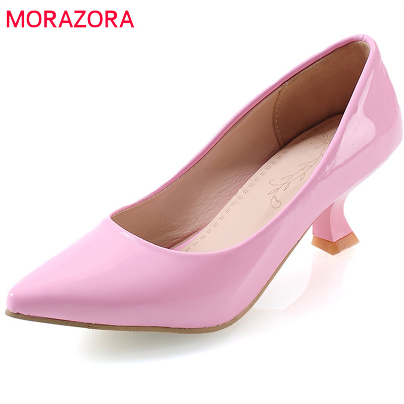 MORAZORA 2018 new arrive women pumps spring summer simple fashion shallow dress shoes pointed toe comfortable high heels shoes morazora new arrive woman pumps spring summer sweet bowknot fashion splice color sexy thin heels pointed toe buckle shoes woman