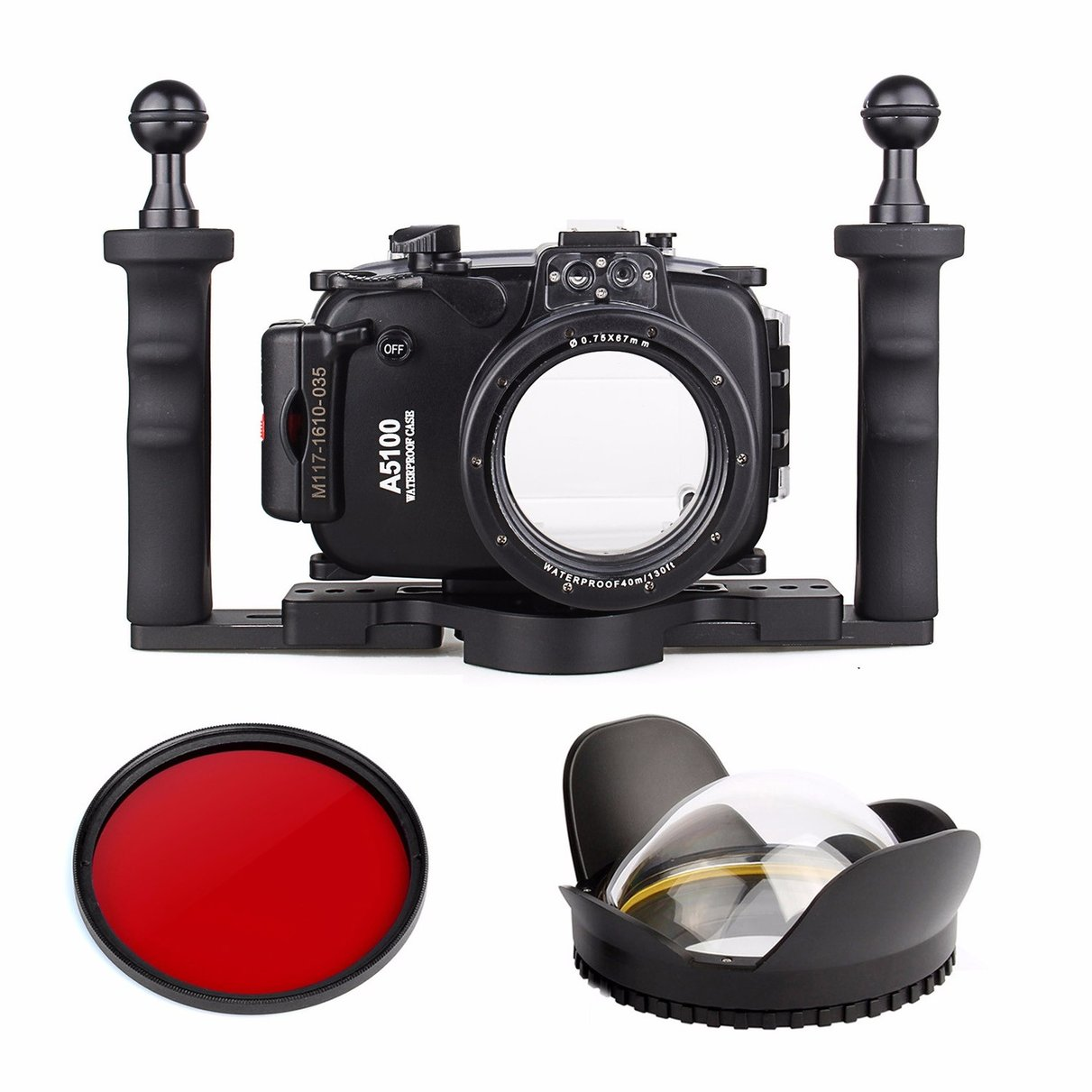 40m Waterproof Underwater Camera Housing Case Bag for Sony A5100 16-50mm + Two Hands Aluminium Tray + Fisheye Lens + Red Filter waterproof underwater housing camera bag case for sony a6000 16 50mm lens