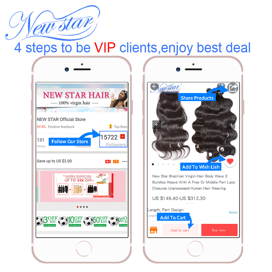 Brazilian Body Wave 3 Bundles Weft With A 13x4 Free Part Ear to Ear Pre Plucked Lace Frontal New Star Virgin Human Hair Weaving
