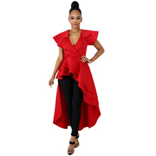 2019 Women Sexy Asymmetrical Ruffles Midi Dress Fashion V Neck Short Sleeves Beach Dress Casual Solid Front Short Party Dresses