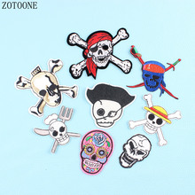 ZOTOONE Iron On Cheap Embroidered Punk Skull Patch Sewing Stripes For Clothes Stickers Diy Motorcycle Patches Jeans Badge