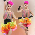 La nueva borla de baile latino niños danza dress for girls vestidos de baile dance competition