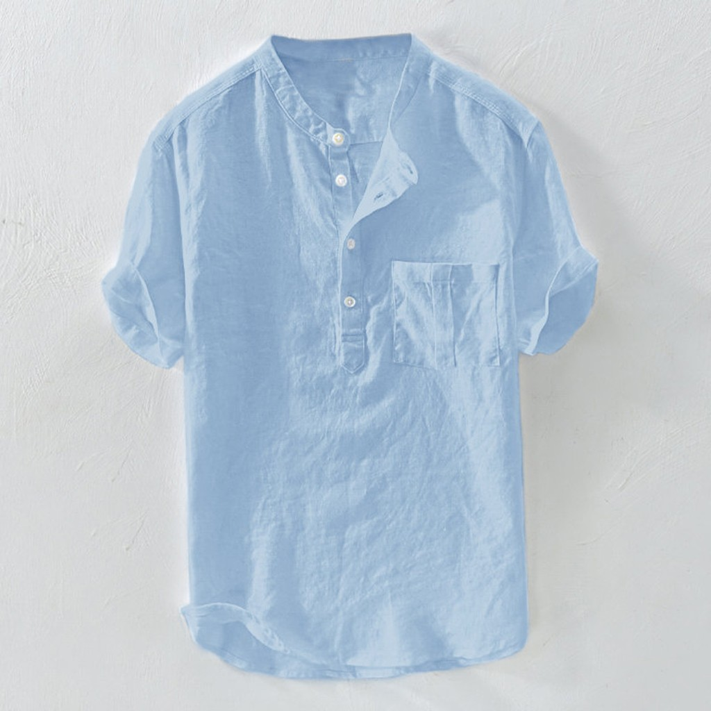 Casual Men's Shirt Camisa Summer Short Sleeve Shirt Men Fashion Pure Cotton Hemp Button Large Blouse Top Camisa Masculina