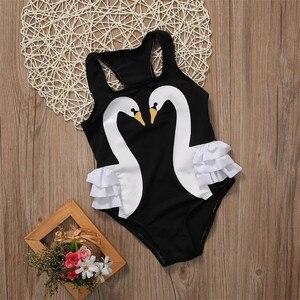 2-7T Hot Summer Children Kids Swimwear Girls 3D Swan Print One Pieces Swimsuit Flower Halter Beach Pool Swimwear Bathing Suit(China)
