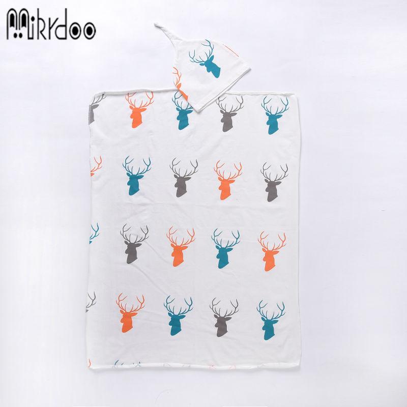 Mikrdoo-Baby-Warmer-Blanket-Kids-Boys-Girls-Knit-Hat-Toddler-Infant-Wrap-Sky-Blue-White-Clothes-Cotton-Deer-Print-Sleeping-Bag-1
