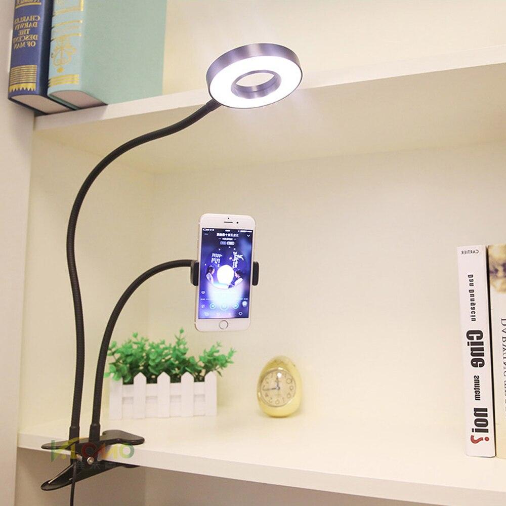 Beauty Clip LED Table Lamp with Live Phone Holder Dimmer Ring Eye Care Led Reading Light Led Desk Lamps Christmas Usb Gift