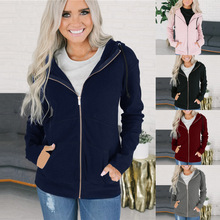 S-3XL women hoodies long sleeve zipper tops cardigan winter autumn spring casual leisure blouse