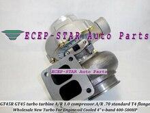 GT45R GT45R-2 Turbo Turbocharger turbine. A/R 1.0 compressor. A/R .70 standard T4 flange oil Cooled 4″ v-band 400-500HP