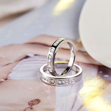 Romantic Lover Solid 18K White Gold Couple Rings Natural Diamonds For Engagement Jewelry WU141