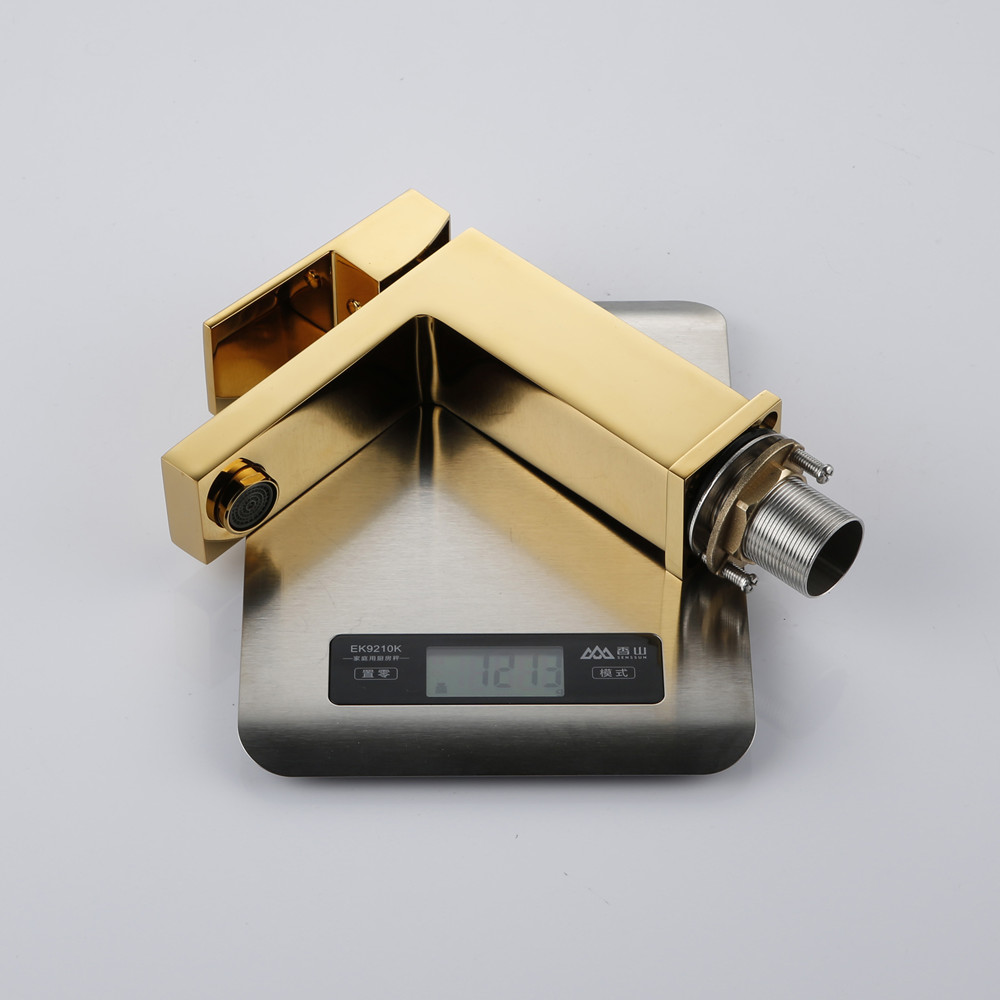 Bathroom Small Basin Tap Mixer 100% Solid Brass Newest Luxury Design Deck Mount Vessel Faucet Black Gold Chrome Silver Square