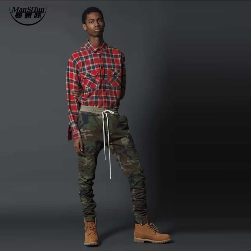 man si tun niebla cremallera lateral marca de ropa urbana pantalones kanye west hombres pantalones