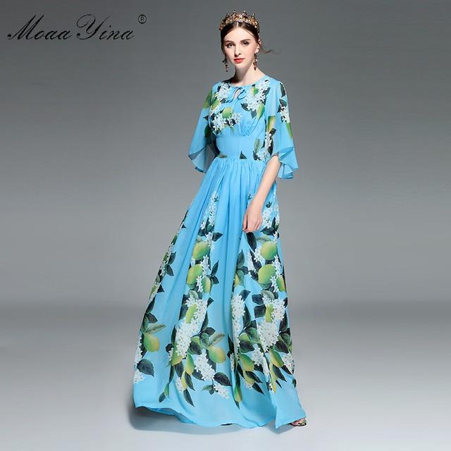 MoaaYina concepteur piste Maxi robe été femmes Flare manches imprimé fleuri citron ceintures loisirs vacances bohême robe élégante