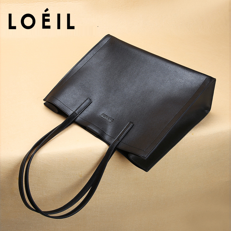 LOEIL Leather handbag 2018 autumn and winter new women's large-capacity handbag shoulder slung ladies bag loeil autumn and winter leather cylinder bag female 2018 new cowhide round shoulder slung small bag portable
