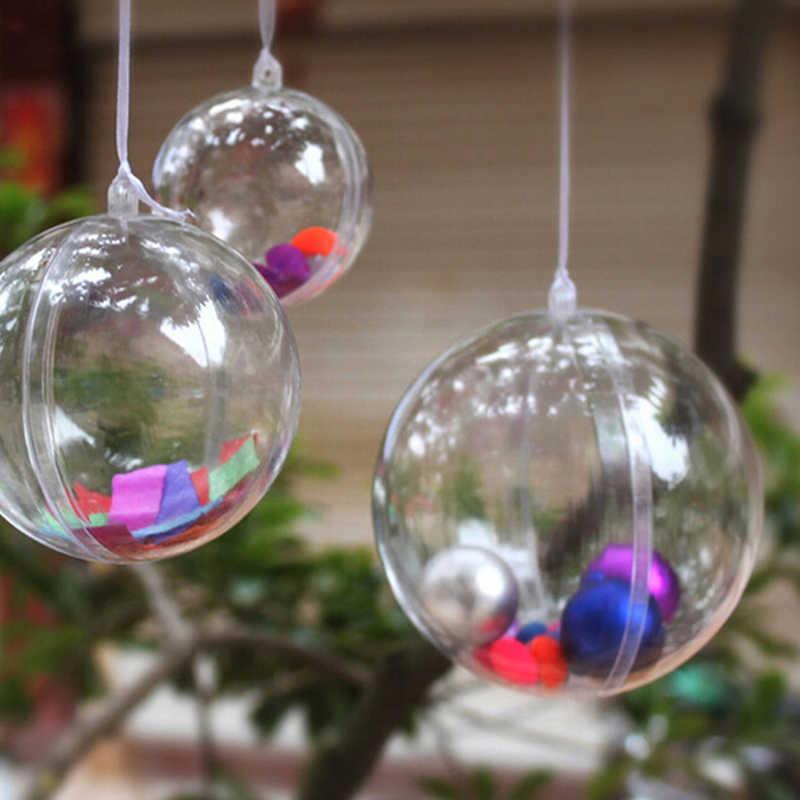 5pcs 8cm פלסטיק ברור חג המולד קישוט תליית כדור תכשיטים זולים עגול Bauble קישוט חג המולד עץ בית תפאורה חג המולד עץ חג המולד