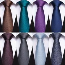 BarryWang 14 Styles 8cm Wide Blue Solid Men Ties 100% Silk Pocket Square Cufflinks Neck Tie For Wedding Groom Gift Business