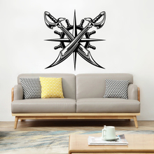 Nautical Vinyl Wall Decal Home Decor Compass Crossed Pirates Wall Sticker Ship Wheel Removable Compass Vinyl Wall Poster AY1577