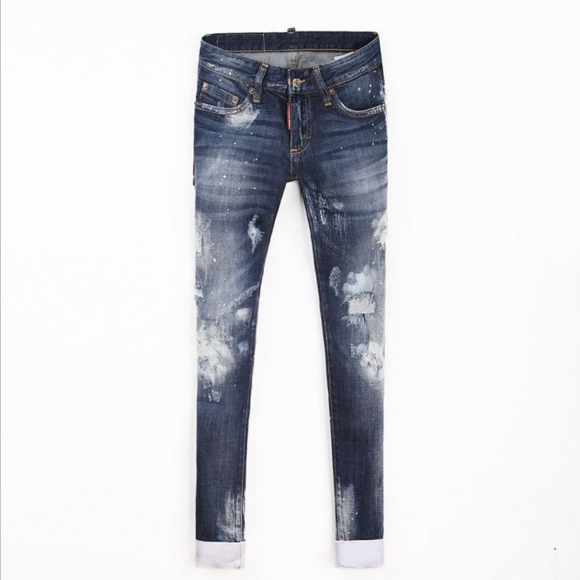 2017 Spring and summer new women tie dye Slim cotton jeans was thin micro-elastic jeans personality small hole pants wj387