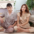 Summer Champagne Gold Lovers Silk Pajamas Set Hot Sale Lounge Satin Short Sleepwear For Women Men New Embroidered Lace Nigthgown