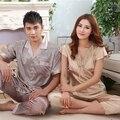 Verano Amantes Pijamas de Seda Set Venta Caliente Salón Dorado champagne Satén Corto ropa de Dormir Para Hombres de Las Mujeres Nuevo Encaje Bordado Nigthgown