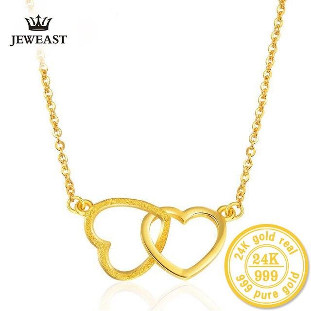 2017 New Arrival Necklace Genuine 24K Pure Gold Heart Pendants Necklaces Elegant Beautiful Graceful Necklace Simple Fine Jewelry