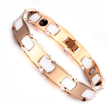 Mens Ladies Tungsten Bracelet, Rose Gold & White Magnetic Health Care Jewelry KB1528