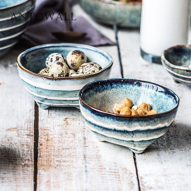 ANTOWALL керамическая посуда Горячий Горшок Миска для соуса японский стиль приправа уксус блюдо личность три ноги тарелка с полосками Блюдца и тарелки      АлиЭкспресс