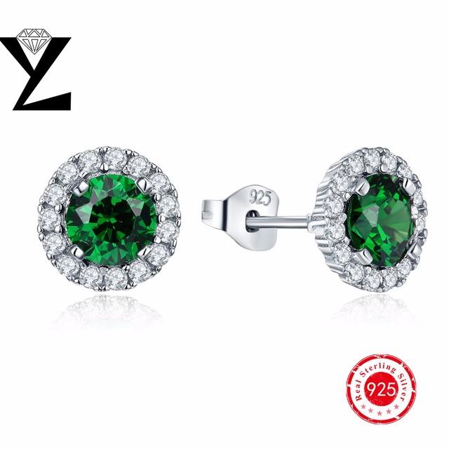 Brincos Genuine 925 Prata Esterlina Brincos Para Mulheres Moda Jóias de Esmeralda Criado Verde Festa de Casamento de Pedra