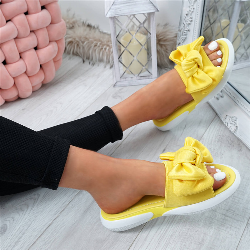 HEFLASHOR Women Slippers Slip On  Peep Toe Ladies Bow Flats Casual Comfort Shoes Female 2019 New Slippers Shoes Plus Size