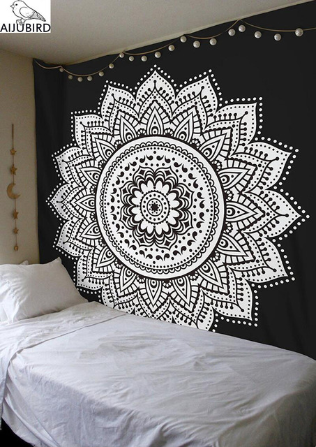 Home Decor Wall Tapestry Mandala Floral Hanging Tapestry Black And
