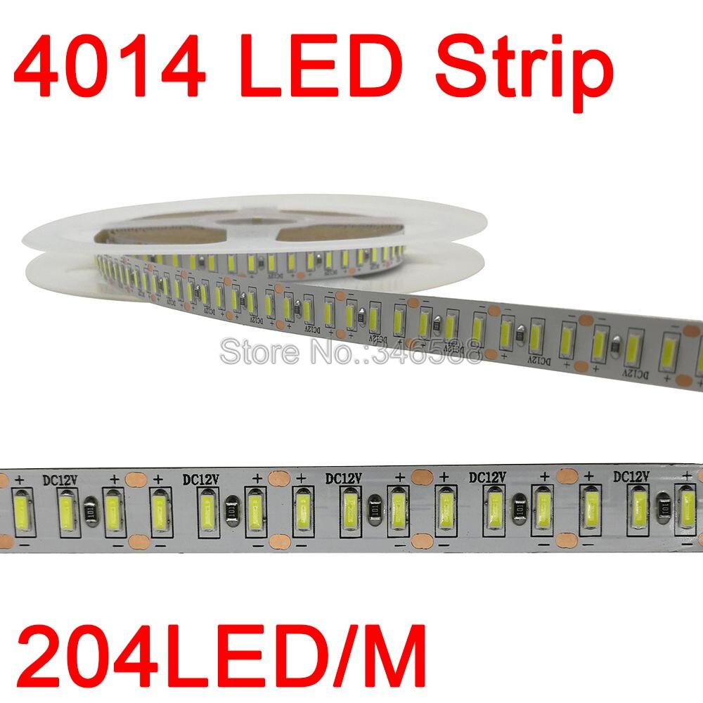 5m Super Bright 4014 LED Strip Light 204 LEDs/m DC 12V Flexible LED Tape White / Warm White Ribbon IP20 IP65 Waterproof