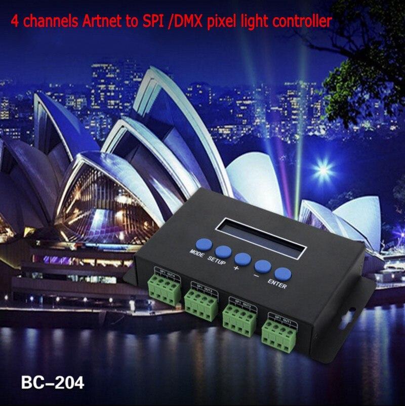 BC-204 Artnet à SPI/DMX pixel contrôleur de lumière Eternet protocole entrée WS2811/WS2801 680 pixels * 4CH + 1XDMX512 canaux sortie