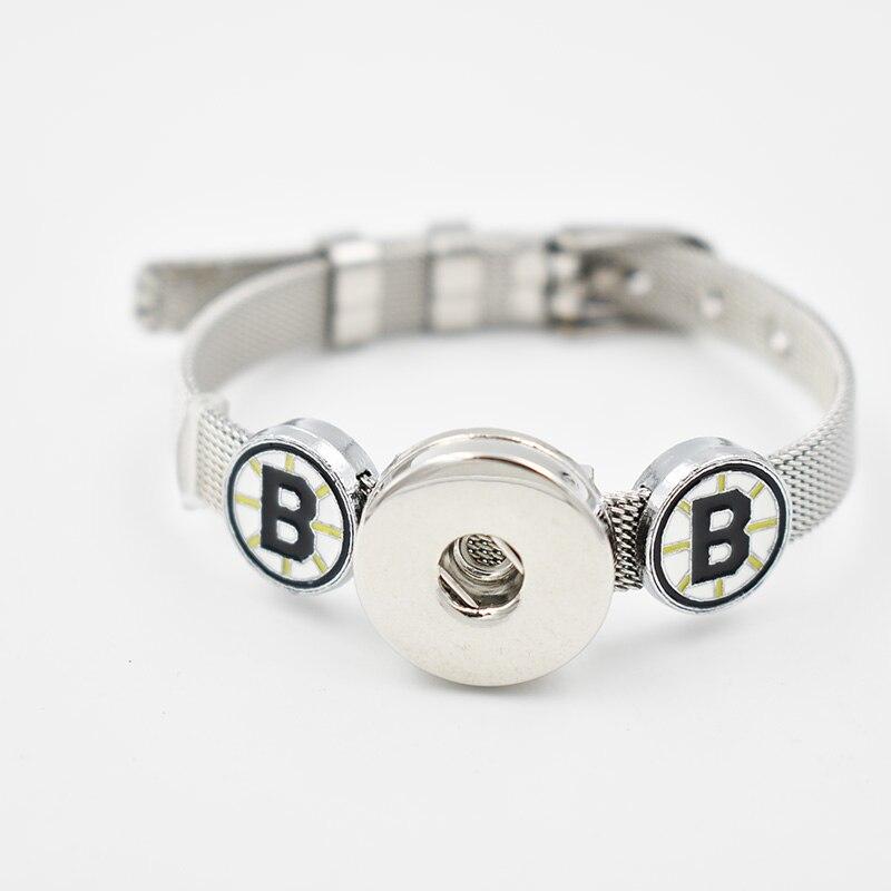 Boston Bruins 2018 Enamel Slide Charms Bracelet 8MM Net 18MM Snap Button Bracelet(Stainless Steel Bracelet)