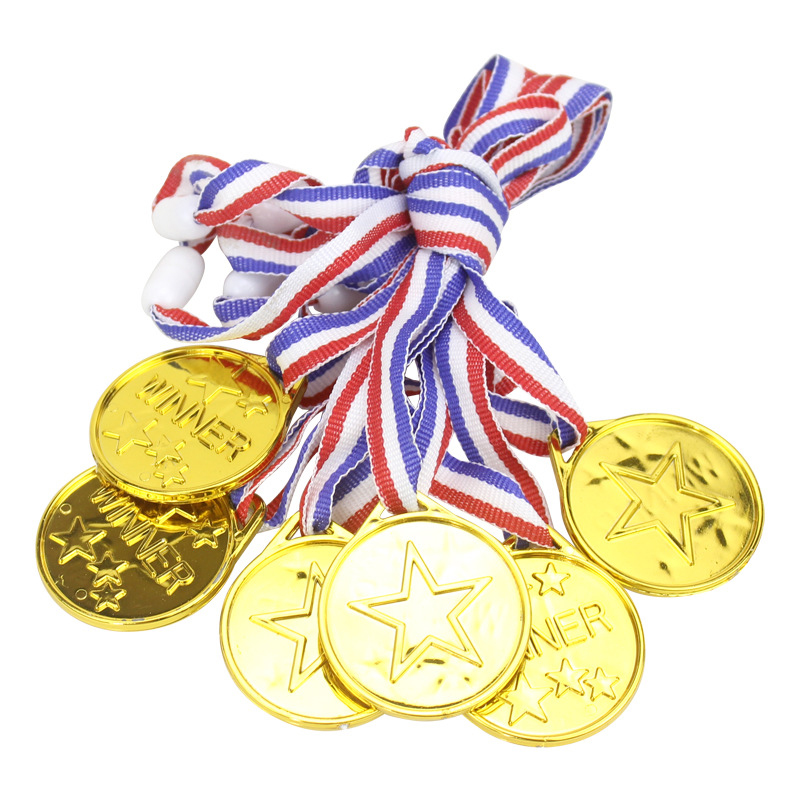 Kids New Arrival Champion 1Pcs Plastic Children Gold Winners Medals Kids Game Sports Prize Awards Toys Favor Gift For Children