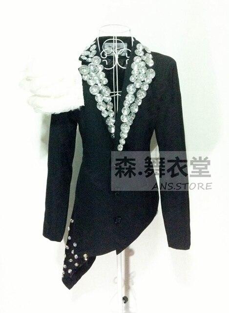 2015 Fashion black  Male Sparkling diamond feather irregular slim blazer nightclub singer stage performance jacket