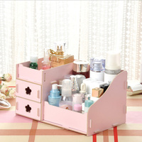 Container Makeup Organizer Case Handmade DIY Assembly Cosmetic Organizer Wood Box Wooden Office Storage Box Home Office Storage     -