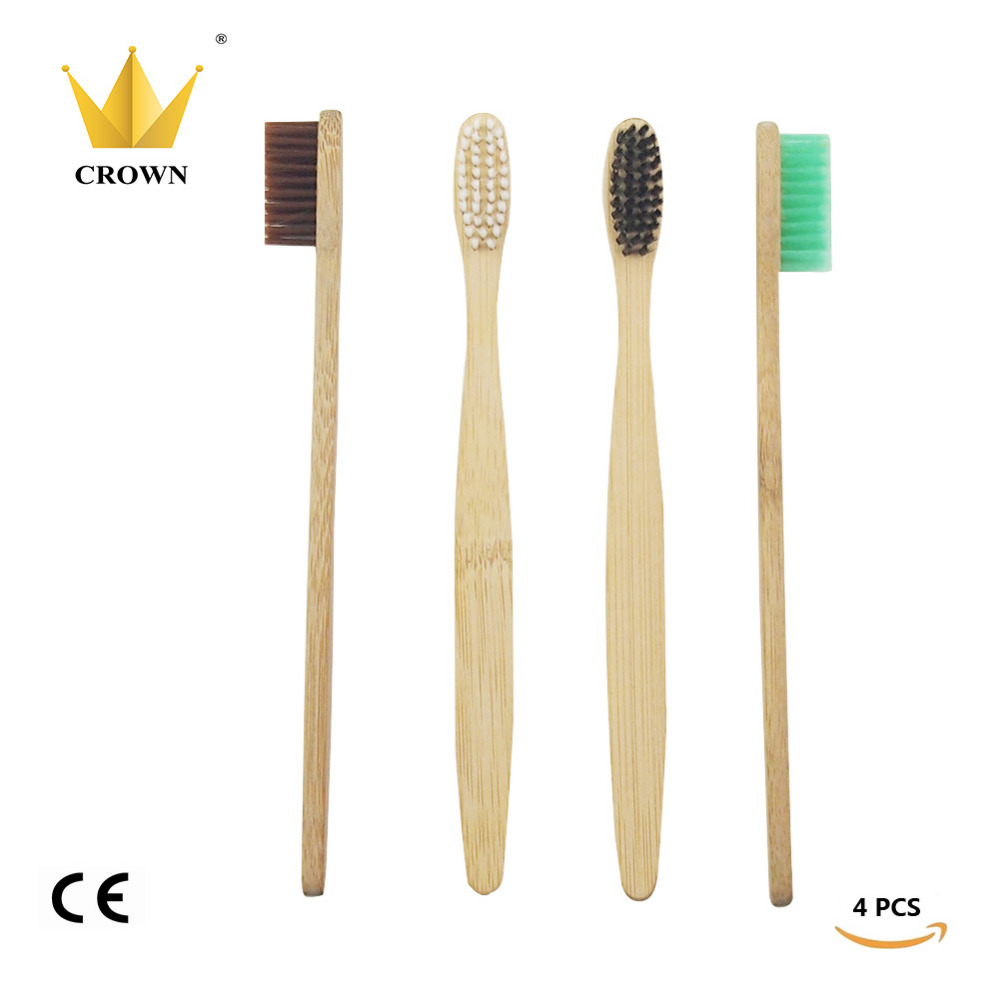 4 Pieces / lot warna campuran mahkota, Lingkungan kayu sikat gigi, Kebaruan bambu sikat gigi, Lembut - bulu, Capitellum serat bambu