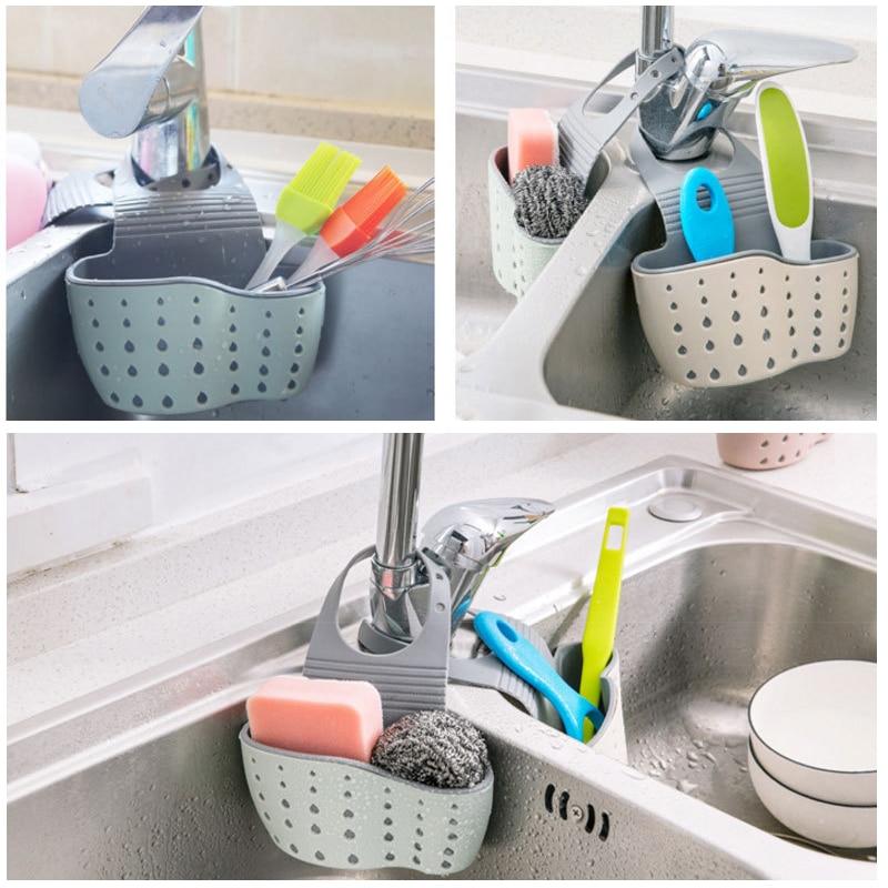 Kitchen Organizer Sponge Storage Hanging Basket Bags Drainer Sink Adjustable Snap Rack Support