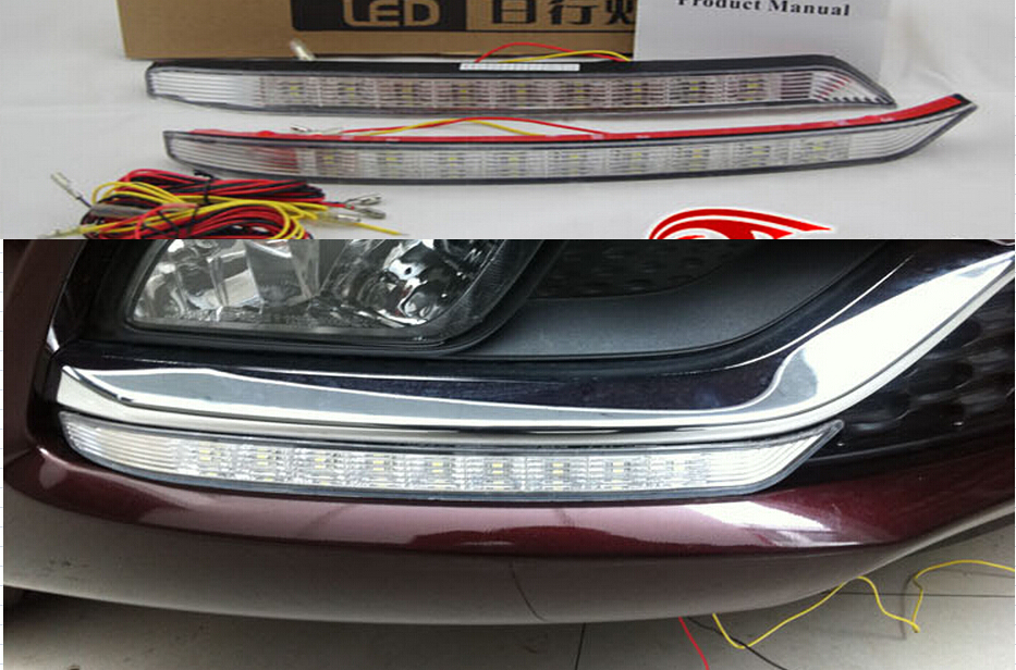 Free shipping , for Kia K3 cerato led drl daytime running light with yellow flicker turn light function easy installation