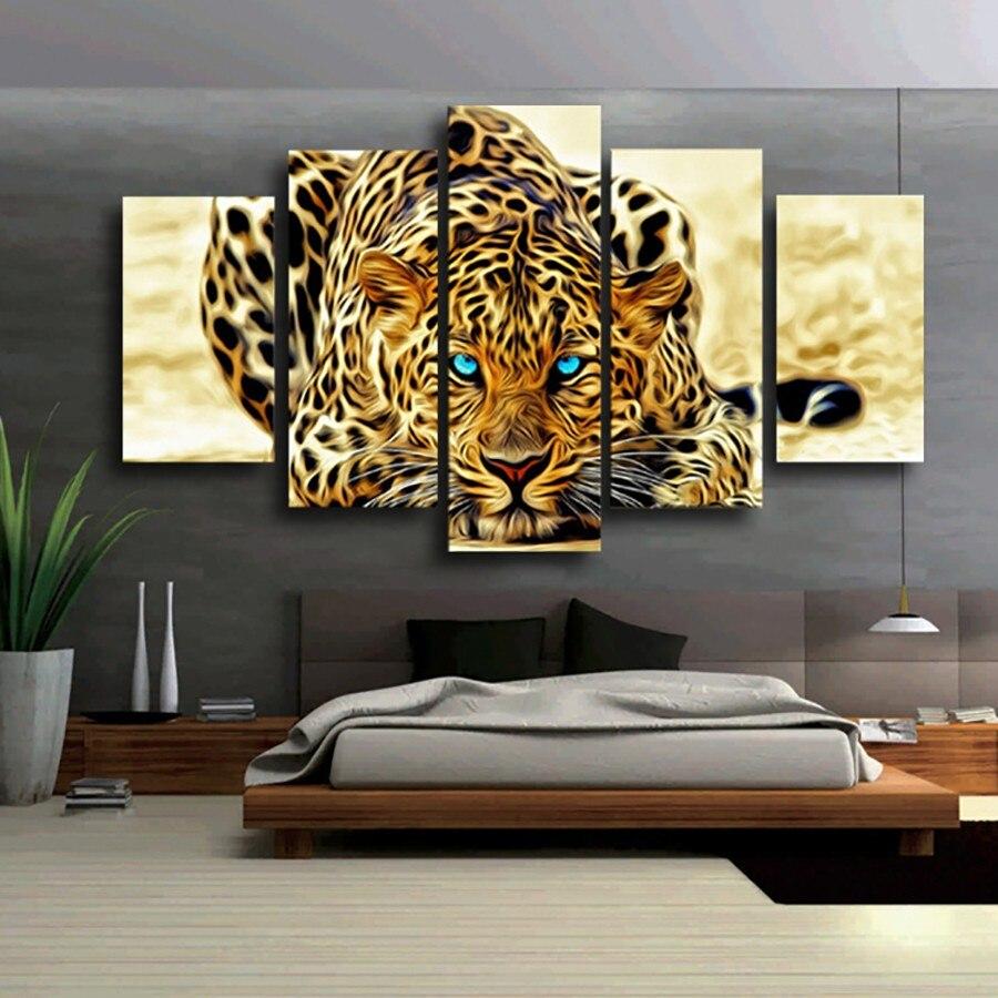 5 Pcs Leinwand Kunst Tier Wand Bilder Für Wohnzimmer HD Creeping ...
