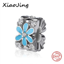 New arrival 925 Sterling Silver charms flower Beads with blue enamel Fit original pandora Bracelet diy bead Jewelry making Gift цена 2017