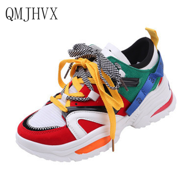 QMJHVX Trendy Women Sneakers Thick Sole Ladies Platform Shoes Web Celebrity Chunky Dad Sneakers Chaussures Femme Buty Damskie