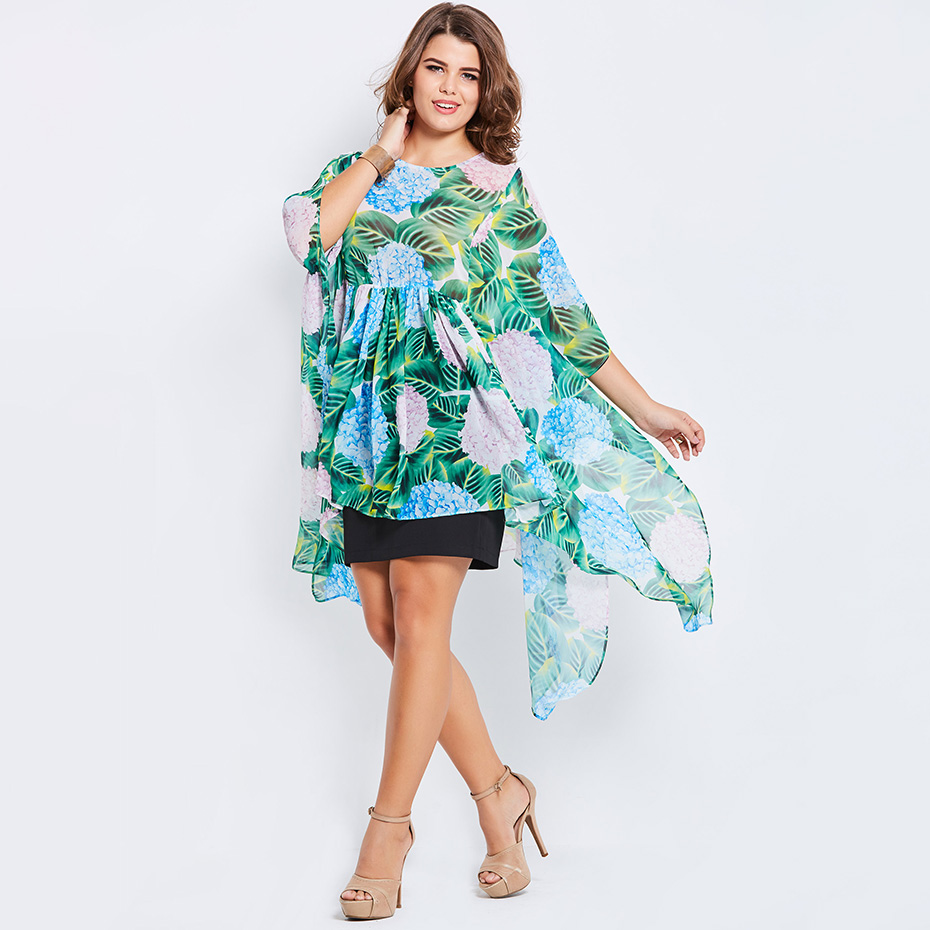 Plus Size Chiffon   Blouse   Women Green Plant Floral Print Batwing Sleeve Tops Big Size 2018 Summer Loose Casual   Blouse     Shirt