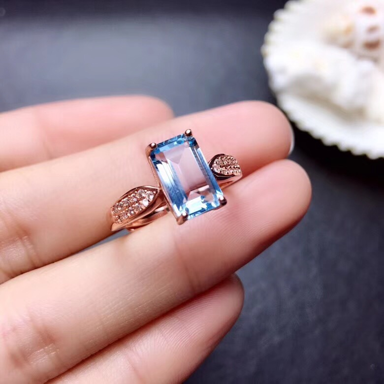 Topaz ring  Finger ring Natural real blue topaz 925 sterling silver ring Wholesales For men or women 6*10mm Topaz ring  Finger ring Natural real blue topaz 925 sterling silver ring Wholesales For men or women 6*10mm