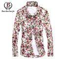 2016 Novo produto 100% algodão Dos Homens de Lazer de Alta Qualidade dos homens camisa Camisa Masculina Slim Fit Elegante Camisas de Manga Longa tamanho M-5XL