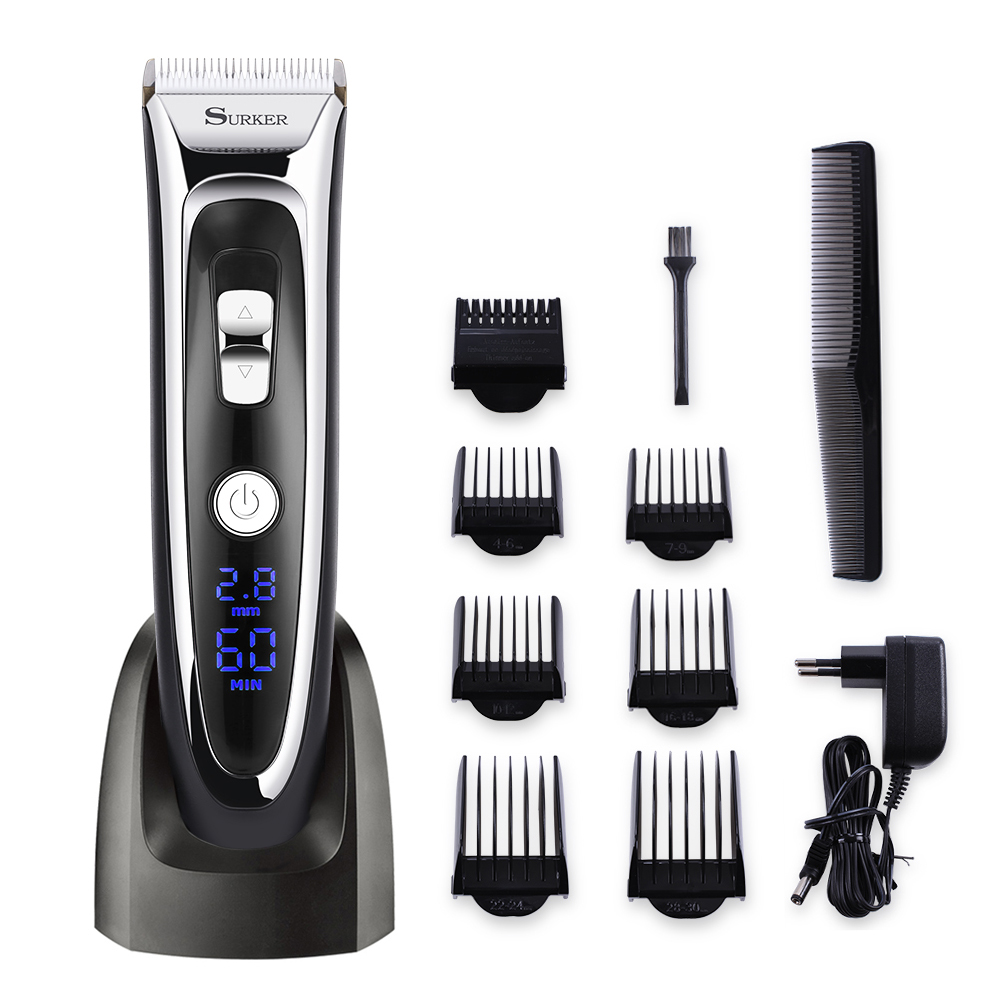 Professional Mute Electric Hair Clipper Trimmer Adjustable Blade Ceramic Knife Rechargeable 100-240V Digital Screen Barber Tool