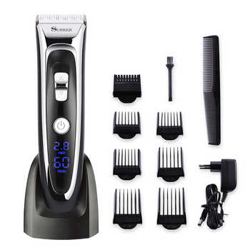 Professional Mute Electric Hair Clipper Trimmer Adjustable Blade Ceramic Knife Rechargeable 100-240V Digital Screen Barber Tool - DISCOUNT ITEM  20% OFF All Category